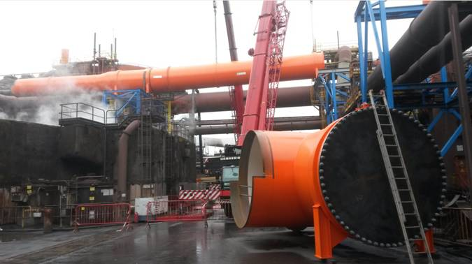 Montage Hochofengasleitung / installation blasting furnace pipes