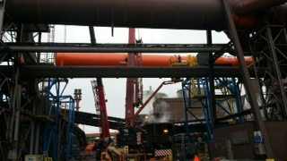 Montage Hochofengasleitung / installation of blasting furnace piping system